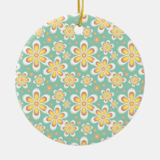 Vintage orange flowers christmas ornament