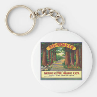 Vintage Orange Food Product Label Basic Round Button Key Ring