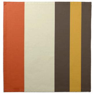 Vintage Orange Grey Yellow Cream Striped Pattern Napkin