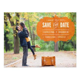 Vintage Orange Label Photo Save the Date Postcard