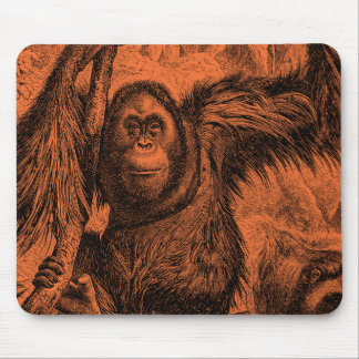 Vintage Orange Orangutan Illustration - Monkey Mouse Mat