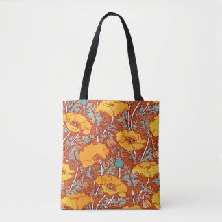 Vintage Orange Poppy Tote Bag