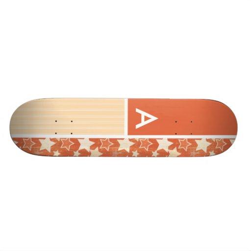Vintage Orange Retro Star Pattern Custom Skate Board