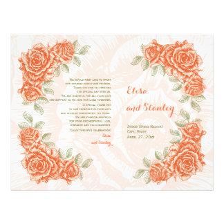 Vintage orange roses wedding folded program 21.5 cm x 28 cm flyer
