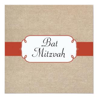 Vintage Orange Rust and Beige Burlap Bat Mitzvah 13 Cm X 13 Cm Square Invitation Card