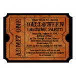 Vintage Orange Spider Web Halloween Party Ticket