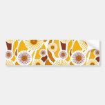 Vintage orange sunflower pattern bumper stickers