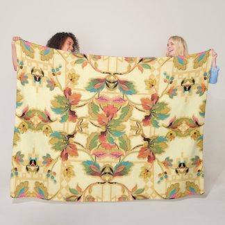 Vintage Orange Turquoise Floral Wallpaper Pattern Fleece Blanket
