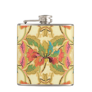 Vintage Orange Turquoise Floral Wallpaper Pattern Hip Flask