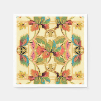 Vintage Orange Turquoise Floral Wallpaper Pattern Paper Napkins