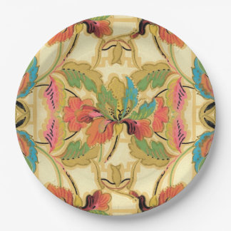 Vintage Orange Turquoise Floral Wallpaper Pattern Paper Plate