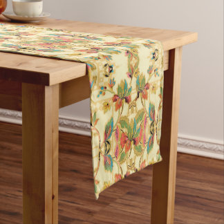 Vintage Orange Turquoise Floral Wallpaper Pattern Short Table Runner