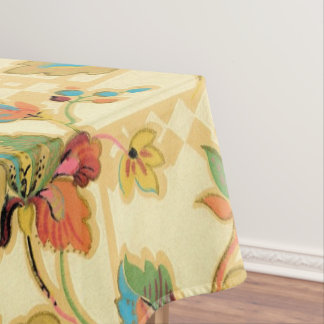 Vintage Orange Turquoise Floral Wallpaper Pattern Tablecloth