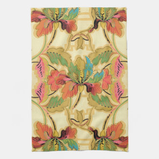 Vintage Orange Turquoise Floral Wallpaper Pattern Tea Towel