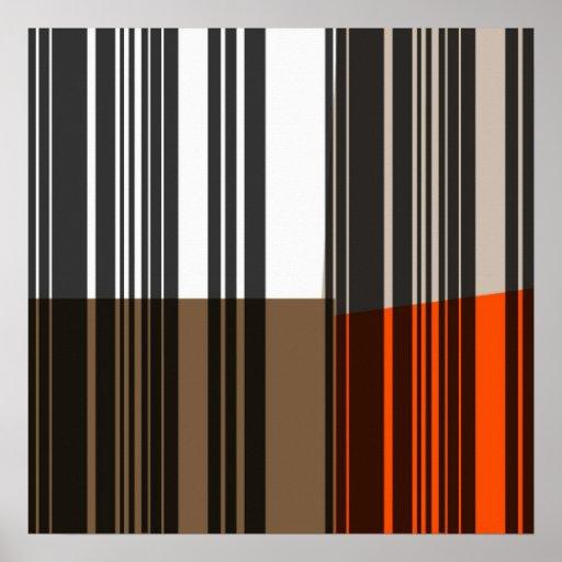 Vintage Orange White Grey Black Stripes Art Poster