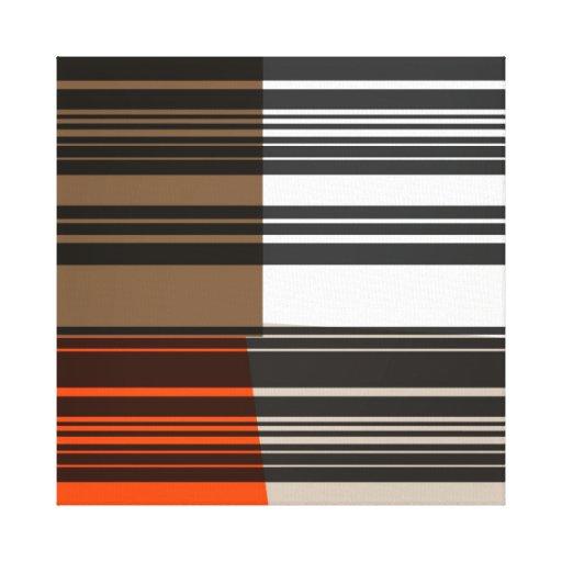 Vintage Orange White Grey Stripes Art Pattern Stretched Canvas Print