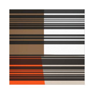 Vintage Orange White Grey Stripes Art Pattern Canvas Print