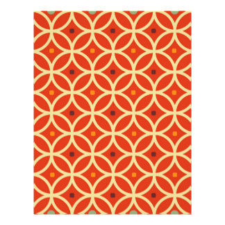"Vintage orange yellow quatrefoil trellis pattern 8.5"" x 11"" flyer"