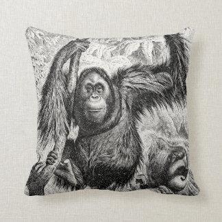 Vintage Orangutan Illustration -1800's Monkey Cushion