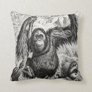Vintage Orangutan Illustration - 1800's Monkey Throw Pillow