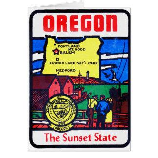 Vintage Oregon 60s Decal Art Sunshine State Greeting Card