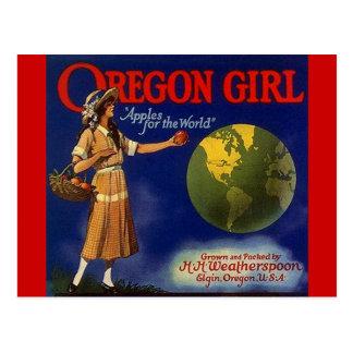 Vintage Oregon Girl Apples Fruit Crate Postcards