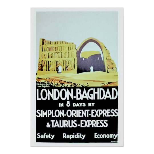 Vintage Orient Express London Baghdad travel ad Poster