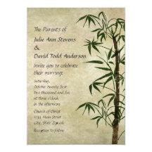 Vintage Oriental Bamboo 1 Wedding Personalized Invitation