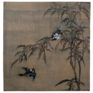 Vintage Oriental Japanese Painting of Two Birds Napkin