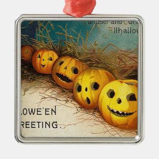 Vintage original Halloween pumpkins card Silver-Colored Square Decoration