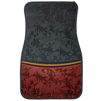 Vintage ornament red and black car mat