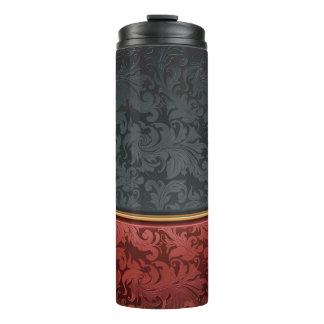 Vintage ornament red and black thermal tumbler