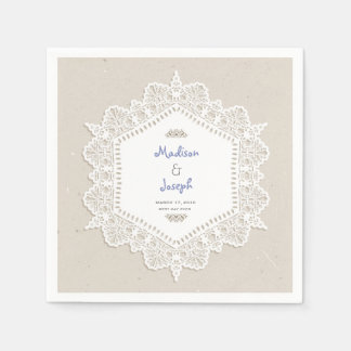 Vintage ornamental lace wedding paper napkins