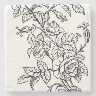 Vintage Ornamental Roses Stone Coasters