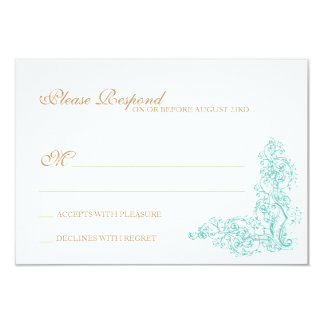 Vintage Ornate Blue & Gold Response 9 Cm X 13 Cm Invitation Card