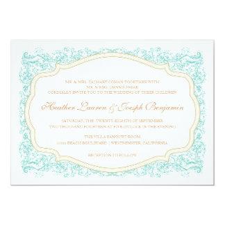 Vintage Ornate Blue & Gold Wedding Invitation