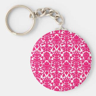 Vintage Ornate Floral Hot Pink Damask Keychain
