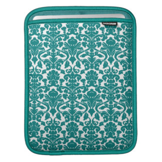 Vintage Ornate Floral Teal Damask iPad Sleeve