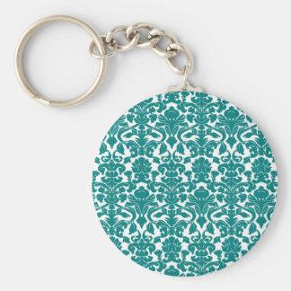Vintage Ornate Floral Teal Damask Keychain