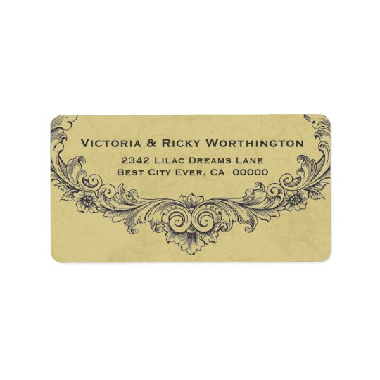 Vintage Ornate Frame Gold Background Wedding Paper Address Label