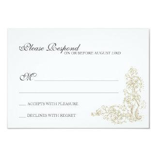 Vintage Ornate Gold & Gray Response 9 Cm X 13 Cm Invitation Card