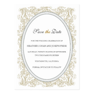 Vintage Ornate Gold & Gray Save the Date Postcard