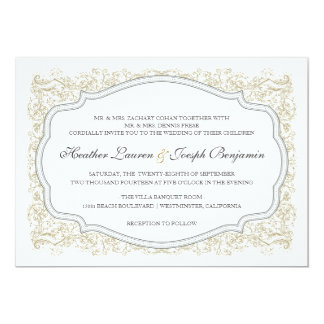 Vintage Ornate Gold & Gray Wedding Invitation