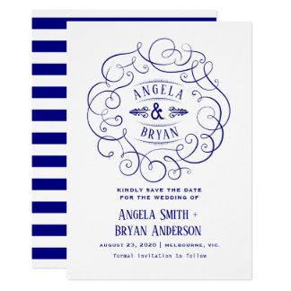 Vintage ornate navy blue save the date card