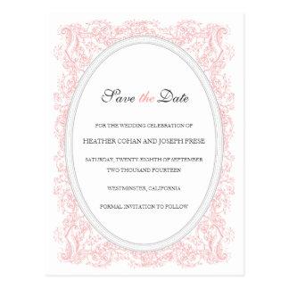 Vintage Ornate Pink & Gray Save the Date Postcard