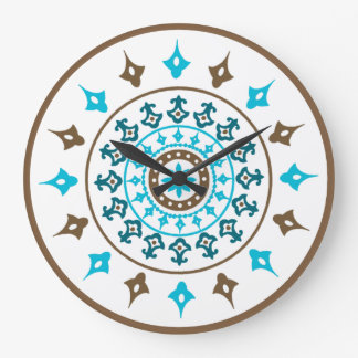 Vintage Ornate Turquoise Brown Wall Clock