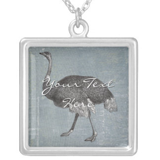 Vintage Ostrich Silver Plated Necklace