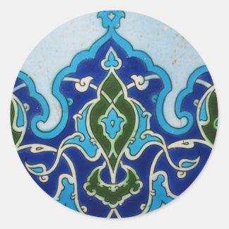 Vintage Ottoaman blue and white tile Round Stickers