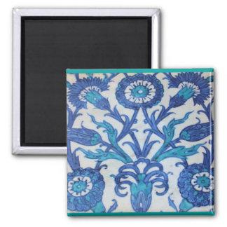 Vintage Ottoman Tile FLORAL DESIGN Square Magnet