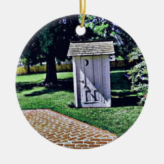 Vintage Outhouse From Harry Truman's Childhood Round Ceramic Decoration